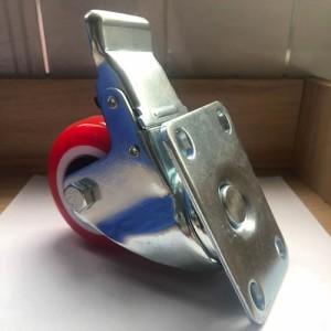 3寸大红色轻型聚氨酯平底刹车脚轮